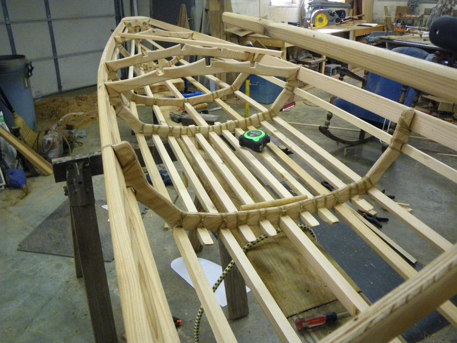 I Have The Hull Almost Finished. Frame Members Are Lashed Together And  Ready To Install Foot Rests Then Oil The Frame. Then It Will Be Ready For  Skinning ...